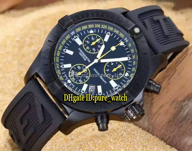 Avenger Seawolf Diver Pro M73390T1 Black Dial Quartz Chronograph Mens Watch PVD Black Case Rubber Strap High Quality Watches
