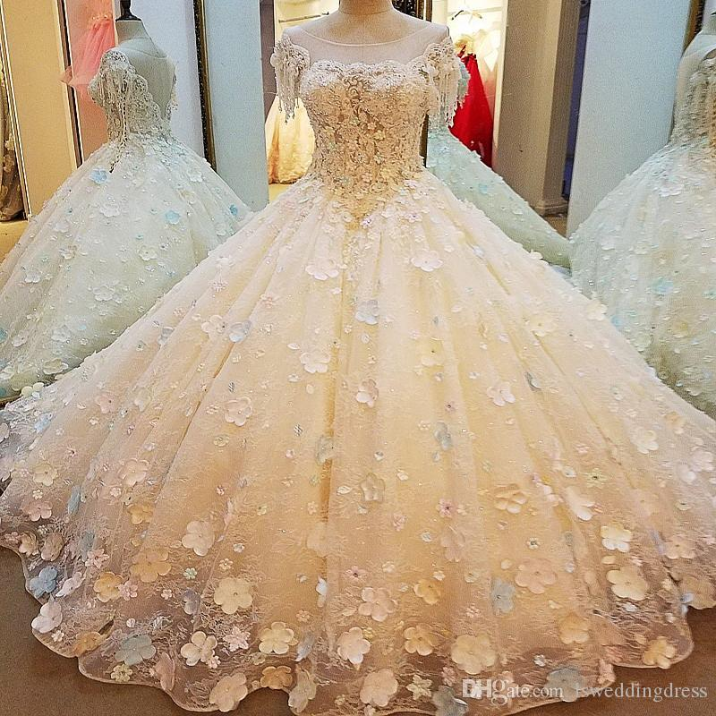 3D Flowers Wedding Dresses 2019 Champagne Lace Gown Long Train Ball Gown Tassel Sleeve See Through Bridal Gown