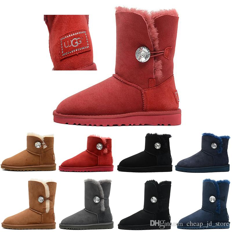 2e5a36328d5c55 Großhandel UGG Bailey Button Bling Boots Neue Ankunft Winter Australia  Classic Schnee Stiefel Mode WGG Hohe Stiefel Echtes Leder Bailey Bowknot  Frauen ...