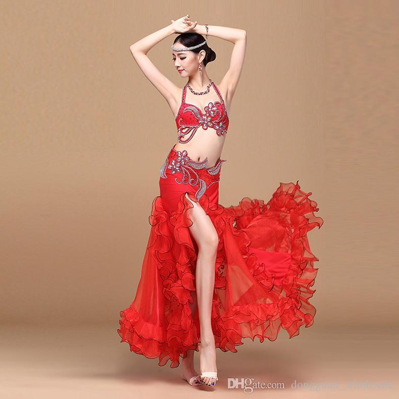 Robes Nouvelle Arrivée Costume De Danse Du Ventre Pour Dames Rose Rouge Blanc Bleu Ceinture D'origine + Ceinture Beauté Femmes Ballroom Performance Costume 2018