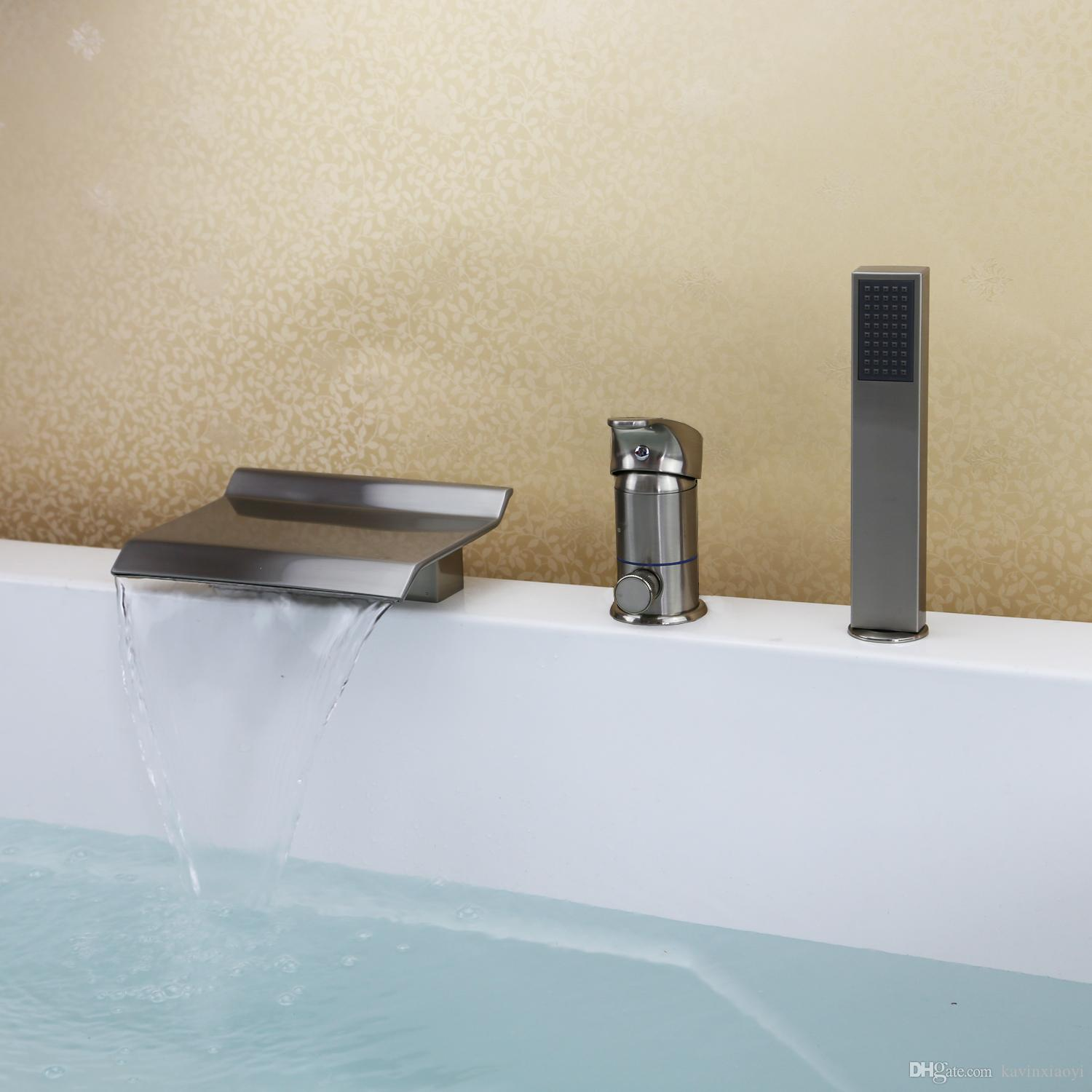 Free Ship Brushed Nickel Widespread Waterfall Squre Spout Bathroom ...