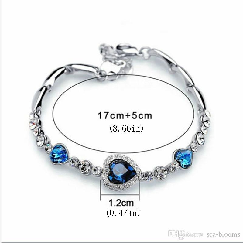 Ocean Heart Heart-Shaped Zircon Crystal Diamond Bracelet Sweet Lady Crystal Bangle Jewelry Accessories Gift Support FBA Drop Shipping H176F