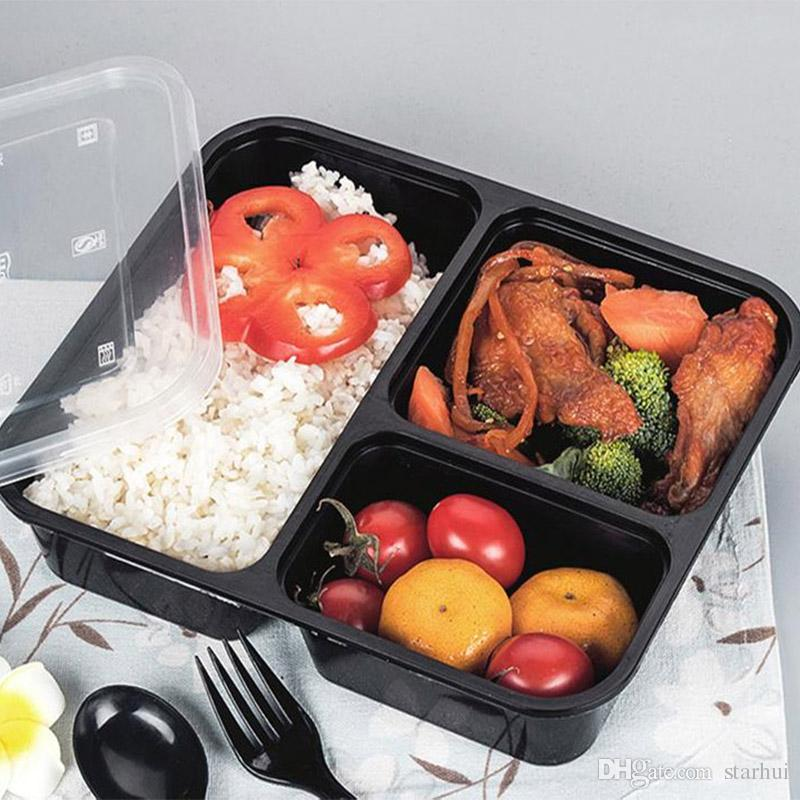 Wiederverwendbare Plastik-Lebensmittellagerbehälter mit 3 oder 4 Fächern und Deckeln Einweg-Behälter zum Mitnehmen Behälter Brotdose Microwavable Supplies WX9-316