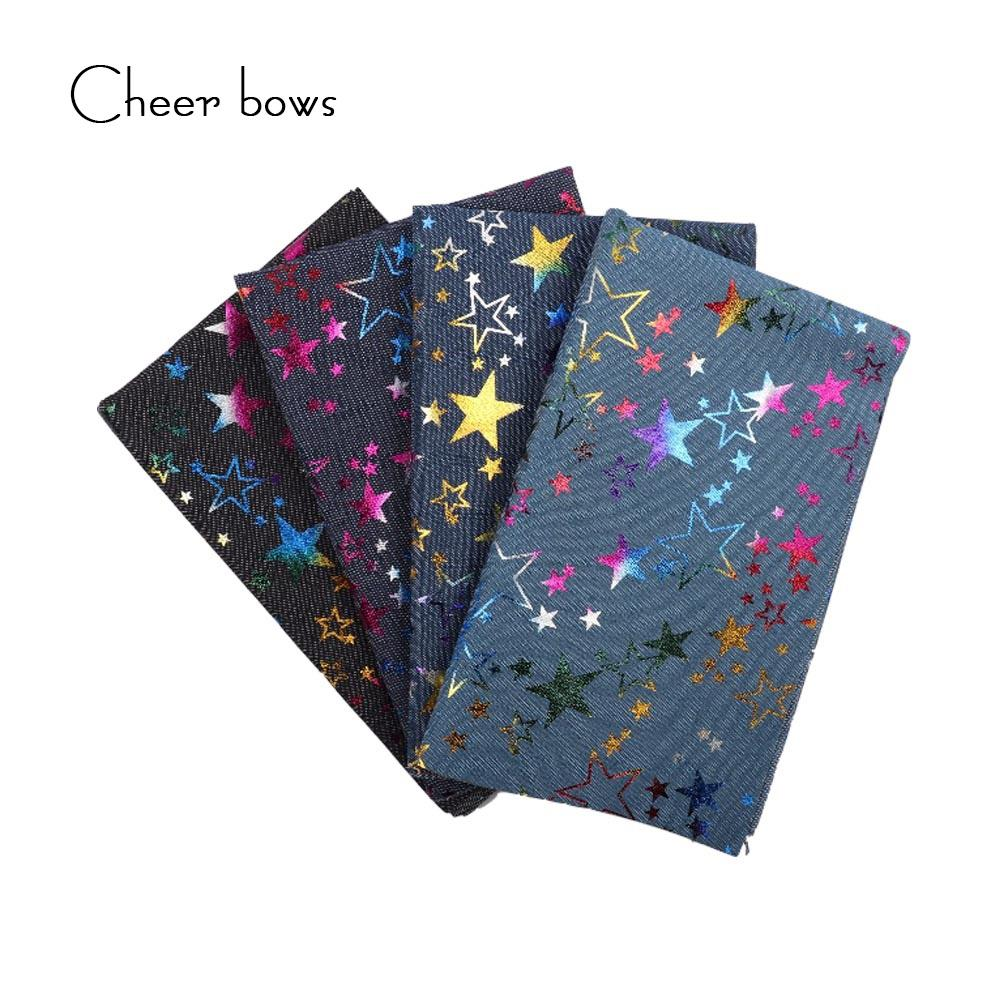 40*50CM Cotton Denim Fabric Color Stars Printed Clothes DIY bags Materials  Christmas Apparel Sewing Accessories For Dolls Making