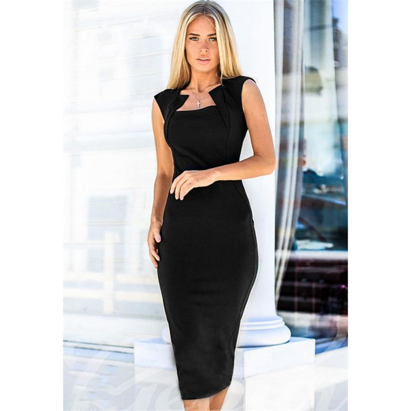 341b8b331810c 2019 2018 Summer Women Fashion Sexy Bodycon Retro Party Dress Black Vintage  Knee Length Pencil Work Dresses Plus Size From Huoxiang