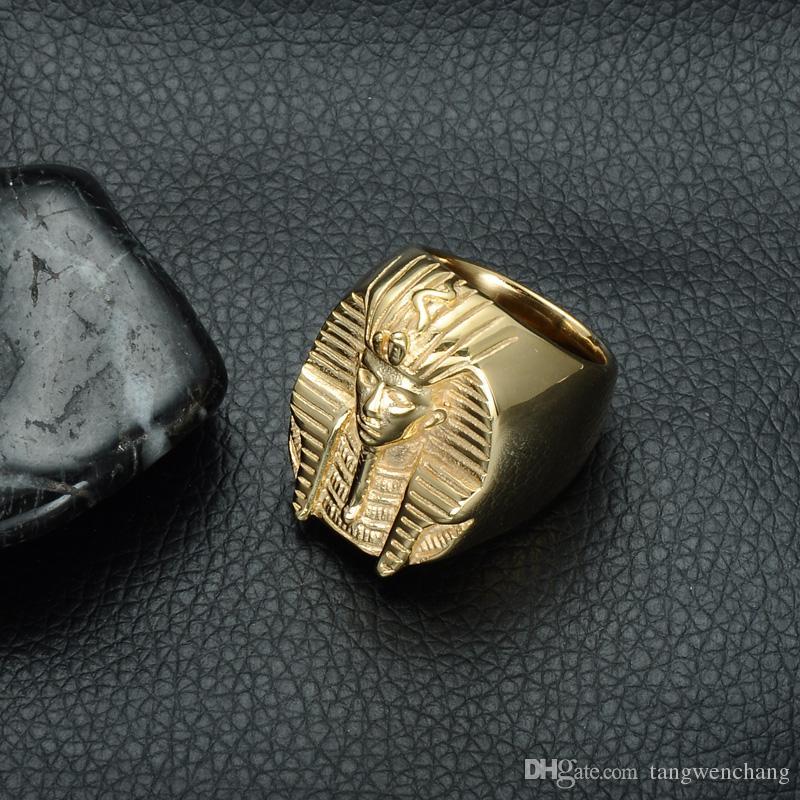 Hop Mysterious Tutankhamun Egyptian Pharaoh Rings Bling Gold Color Stainless Steel Mens Signet Ring Heavy Rock Jewelry
