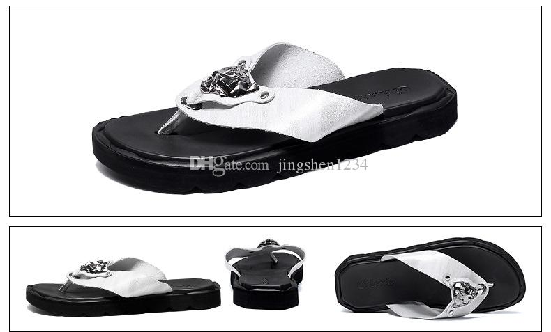 4b3ed596024745 Real Leather Men s Slippers Summer 2018 New Style Flip-flops Men s ...