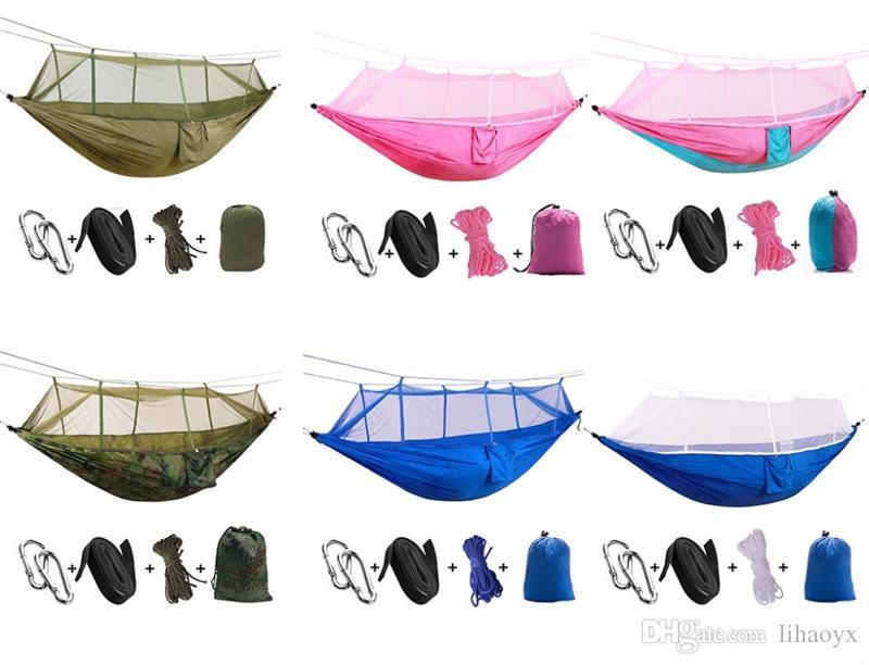 La nuovissima moda Handy Hammock Person Portable Paracadute Tessuto Mosquito Amaca campeggio interni all'aperto utilizzando C613