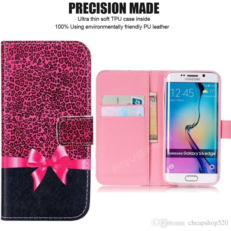 Painted Flip Case Wallet Leather Cover for iphone X 5 5s SE 6 6s 7 8 plus for Samsung galaxy S3 S4 S5 Neo S6 S7 edge