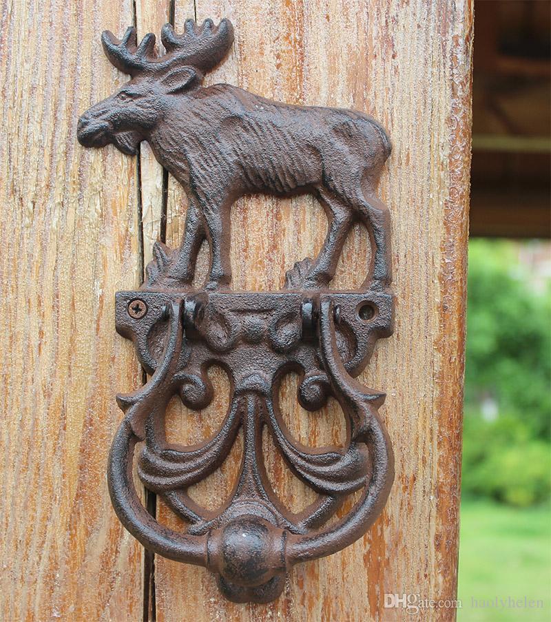 2 Pièces Rustique En Fonte Elk Élan Décoratif Porte Heurtoir Traditionnel Vintage Style Poignée De Porte Verrouillage Porte Pays Décor Libre Navire