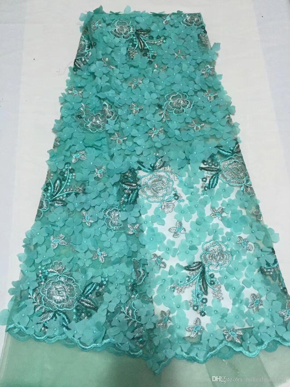 Tecido de renda africano com lantejoulas 2018 mais recente tecido de lantejoulas de alta qualidade tule lantejoulas tecido de renda para vestidos de noite verde