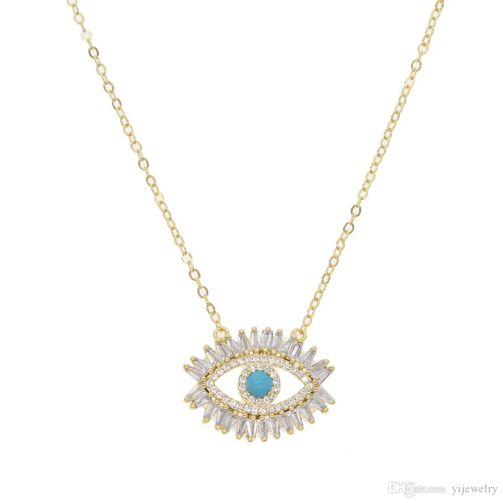 94b1cf82ee478 Compre 18 K Banhado A Ouro Colar De Olho Mal Turco Turca Menina Presente  Baguette Zircônia Cúbica Turquesa Geomstone Top Quality Evil Eye Jewelry De  ...