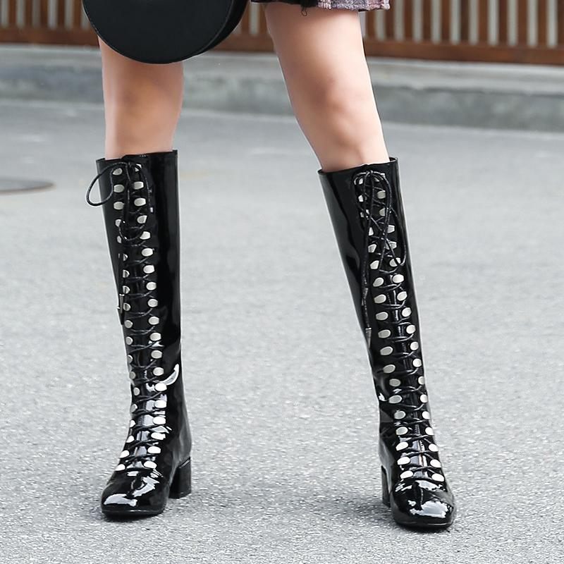 8a17dbfe3f1 Black Silver Patent Leather Knee High Women Boots Fashion Show Catwalk Lace  Up Metal Decor Punk Style Squared Toe Booties 2018