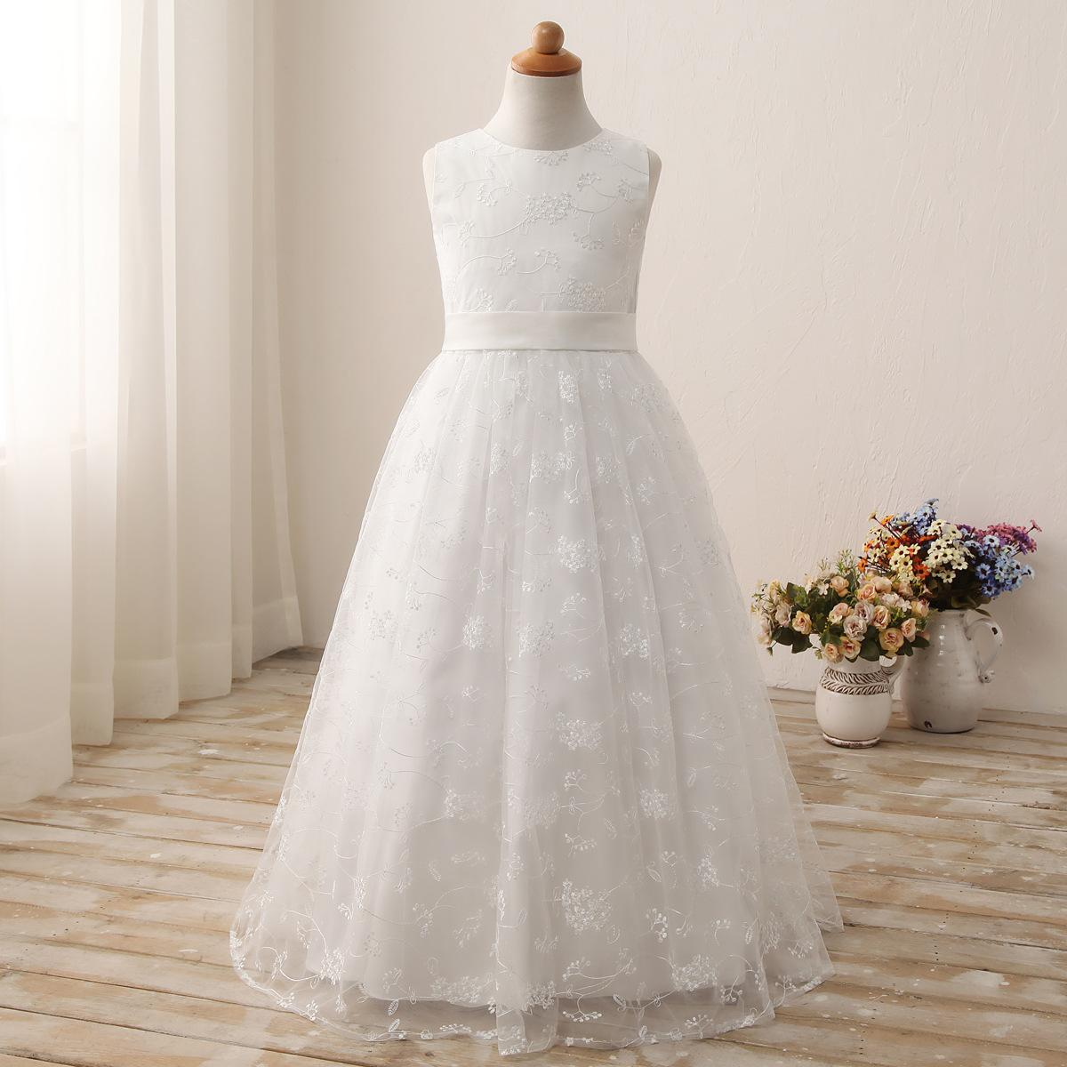 Childrens Dress White Collar Shoulder Wrap Lace Embroidery Long