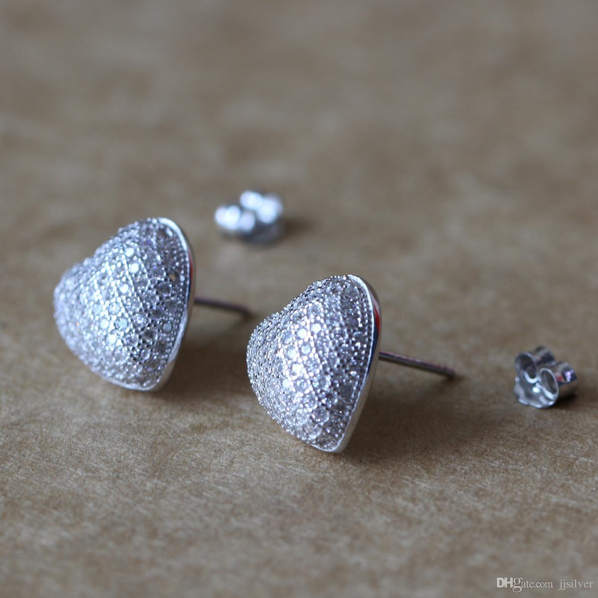 100 % 925 스털링 실버 귀걸이 쥬얼리 패션 작은 CZ 포장 크리스탈 하트 스터드 귀걸이 선물 여자 아이들을위한 레이디 파인 쥬얼리