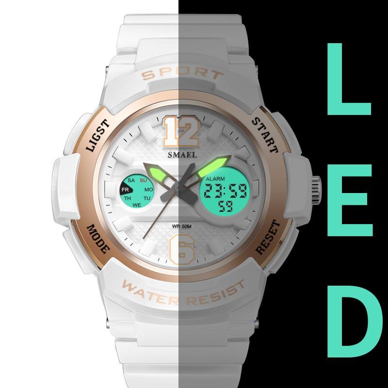 72b16acc7263 Satın Al Kadınlar Için Spor Saatler SMAEL Bayanlar İzle LED Beyaz Saat  Kuvars İzle Relojes Para Mujer1632 Dijital Su Geçirmez Kadın Saatler S915