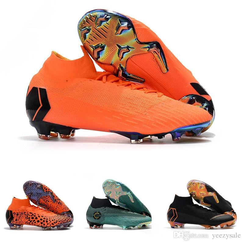 4e188f26a93 2019 2018 Top Quality Mens Women Kids CR7 Football Boots Mercurial Superfly  KJ VI 360 Elite FG TF IC Soccer Shoes Outdoor Soccer Cleats From Yeezysale