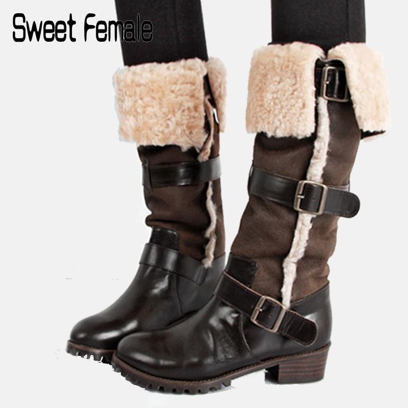 8118ddb805518 Sweet Female Genuine Leather + Real Fur Snow Boots Womens New Retro Buckle  Ladies Riding Boots Winter Big Size Warm Shoes C8414 Brown Ankle Boots Fly  Boots ...