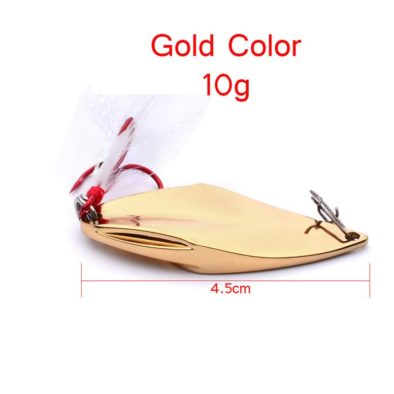 New Artificial Viper Metal Spoon Bait 10g Iron Laser sequins Jigs Spinnerbait Jigging lure Red Hooks with Feather