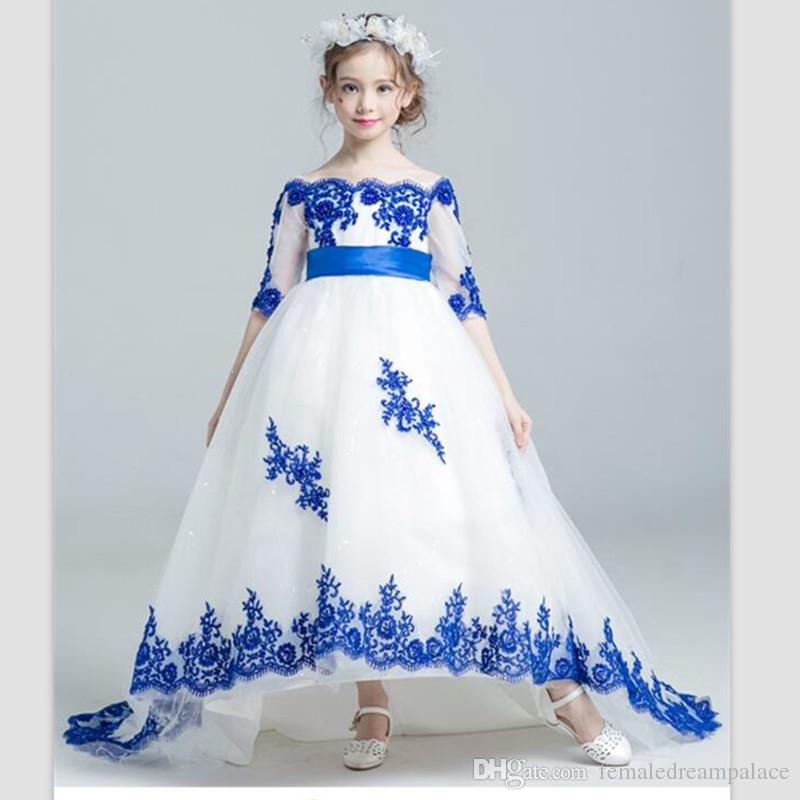 4e0c87cfaacb 2018 On Sale Blue Lace Flower Girls' Dresses Half Sleeves First Communion  Dresses Sweep Train Girls Pageant Gowns Hot Christmas Kids Gowns