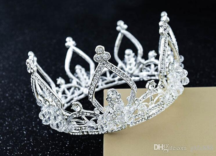 Japan und Südkorea Runde Braut europäischen Stil handgemachte Haarschmuck Königin Krone Braut Hochzeit Tiara Hochzeit Zubehör