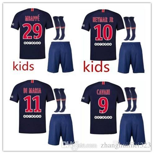 b04a85ed3 2018 2019 Paris Kids Kit Soccer Jerseys 18 19 Jr Mbappe Home ...