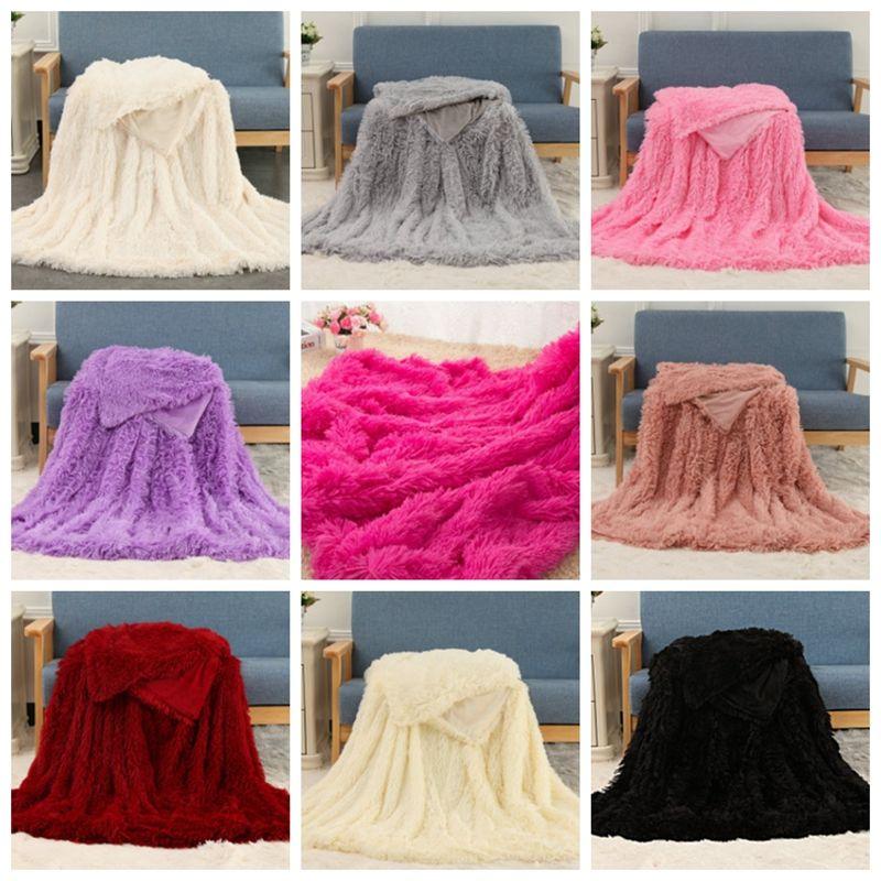 Fluffy Blankets Fleece Throw Blanket Long Shaggy Blanket Solid