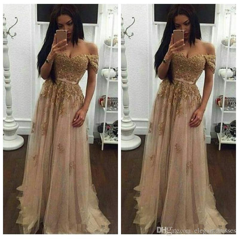 1a38c697c11 Off Shoulder Gold Lace Appliques Prom Dresses Long 2018 Sweetheart Formal  Tulle Beading Crystal Evening Gown Lace Evening Party Dress Backless Prom  Dresses ...