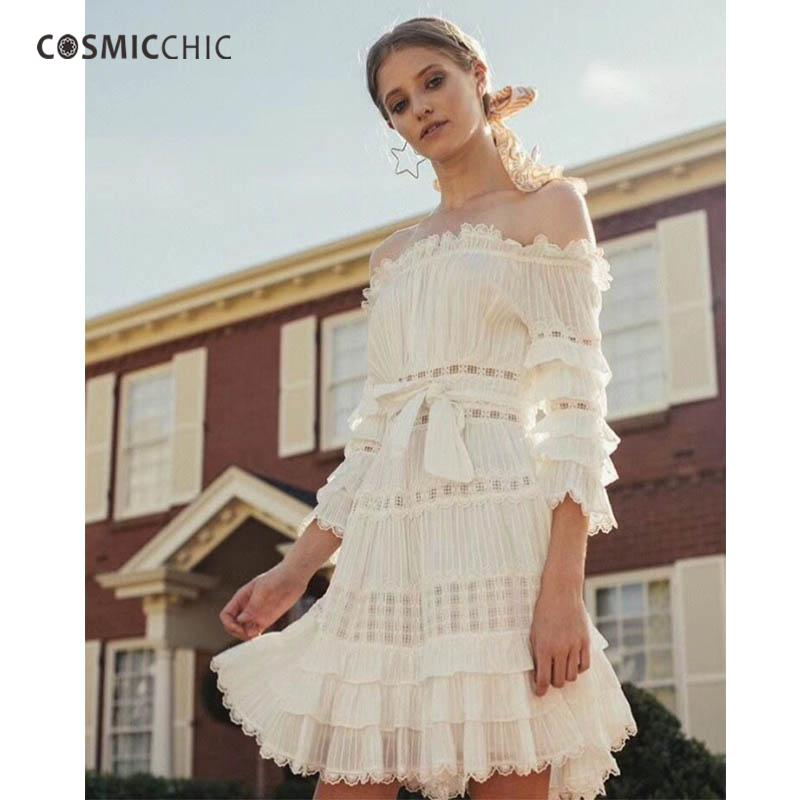 7ca3373c1ba0 2019 Cosmicchic Haute Couture Boho Mini Dress Off Shoulder Lotus Sleeves  Shift Dress Hollow Out Holiday Vestidos Sexy LY209 From Edmund02