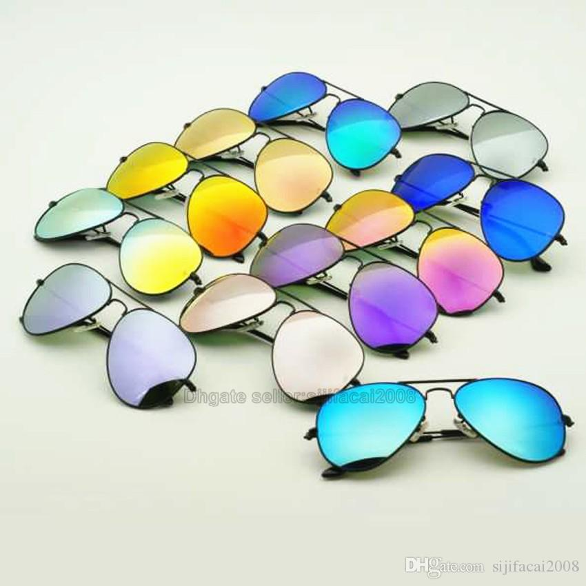 10pcs Mix Order Brand Designer Coloful Sunglasses Classic Sun glasses for Men Women Driving glasses UV400 Metal Frame Flash Mirror Lenses