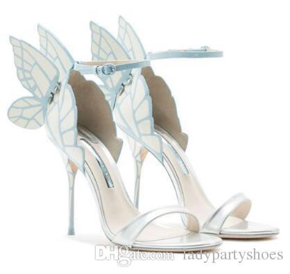 2018 Pembe Gümüş Şampanya Kelebek Kanatları Gelin Düğün Ayakkabı Toka Askı Yüksek Topuklu Kadın Sandalet Açık Ayak Kadın Pompaları