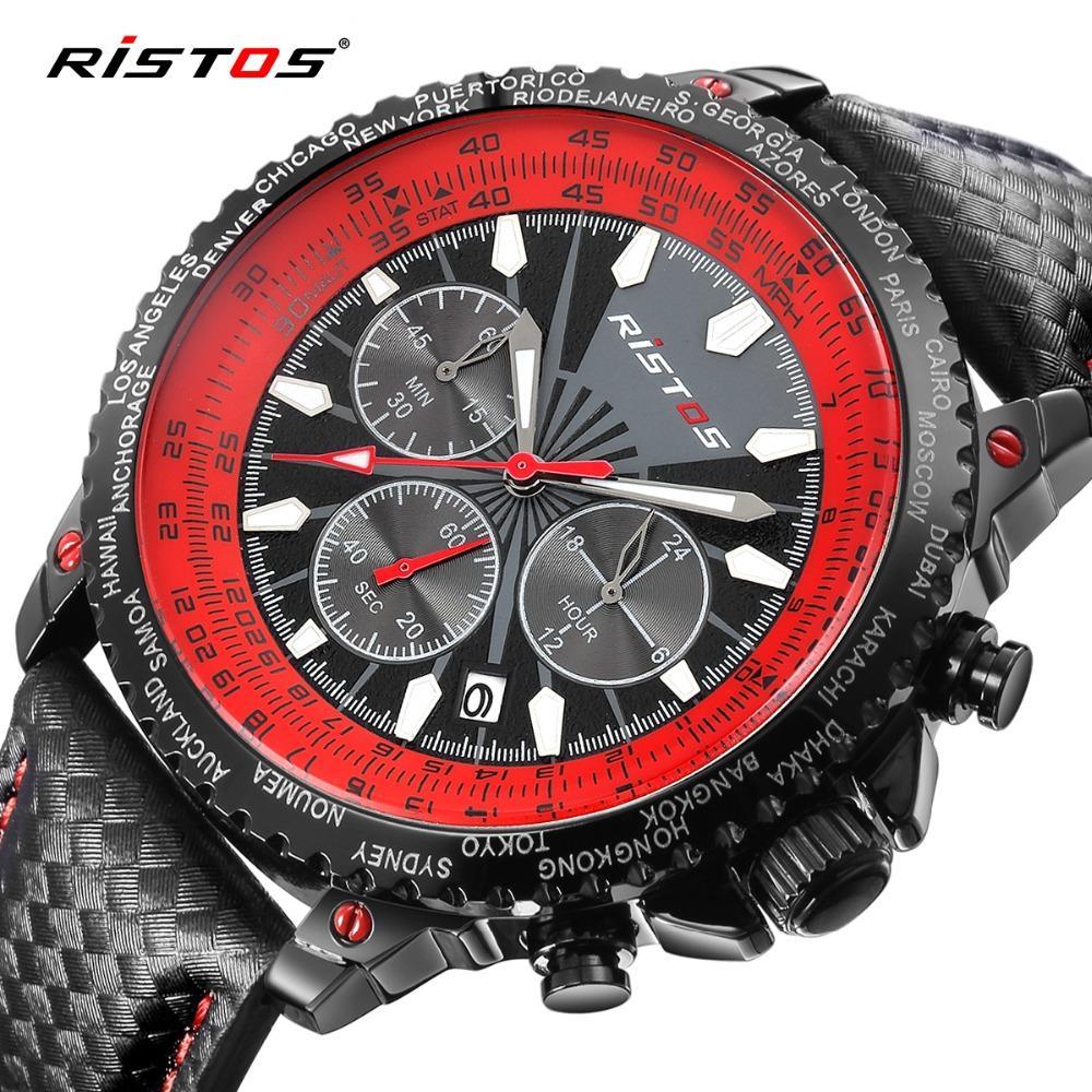 21a9cdccd425 Compre Ristos Chronograph Men Watch Moda Sport Quartz Watch Calendar  Leather Relojes Para Hombre Top Brand Luxury Reloj Analógico Relojes A   52.55 Del ...