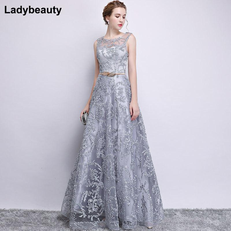 b9a050d397 New 2018 Evening Dress Elegant Banquet Champagne Lace Sleeveless  Floor-length Long Party Formal Gown plus size Robe De Soiree C18111601