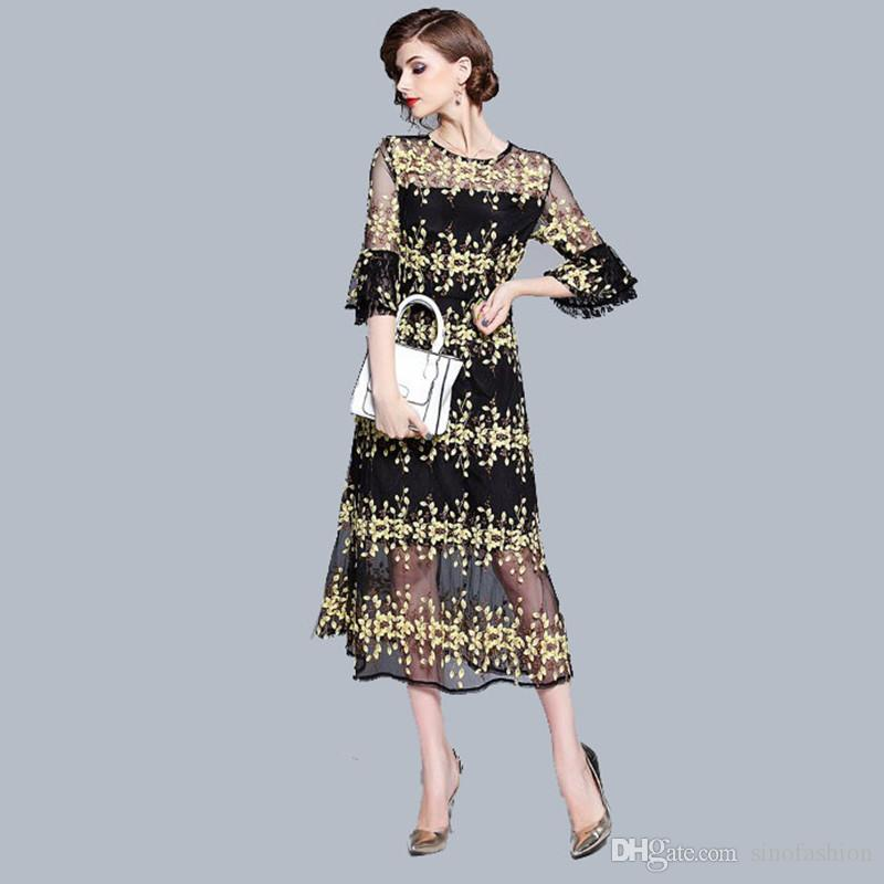 Summer Evening Dresses Ladies Party Dresses for Women Chic Sexy Sheer Floral Embroidery Black Long Dress