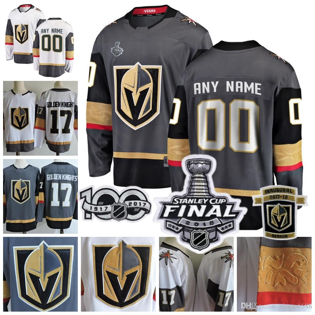 8c8b3eae7 Custom Vegas Golden Knights 2018 Stanley Cup White Gray Fleury Tuch Any  Number Name #17 Sewn 2017 Inaugural Season 100TH Patch Jersey S-3XL