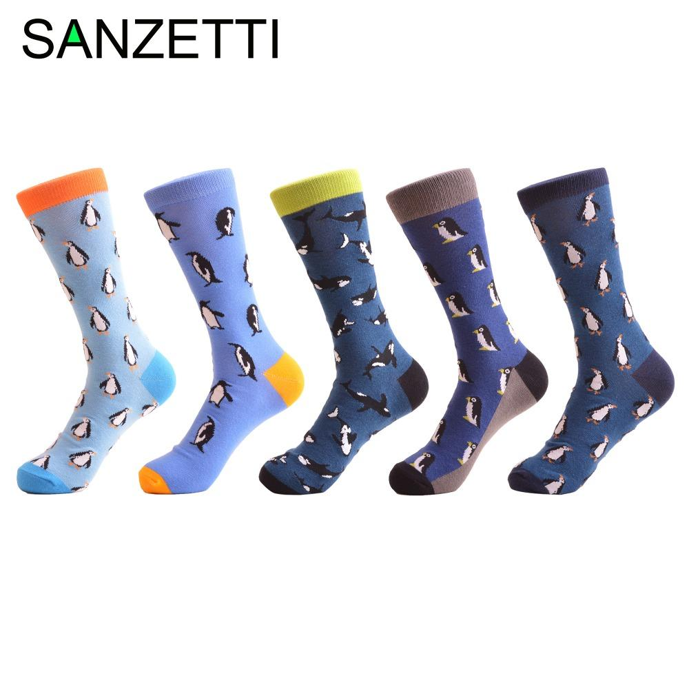 29b95b8c5 SANZETTI 5 Pairs/Lot Novelty Men's Combed Cotton Funny Crew Socks Penguin  Whale Pattern Fashion Casual Dress Wedding Socks Gifts