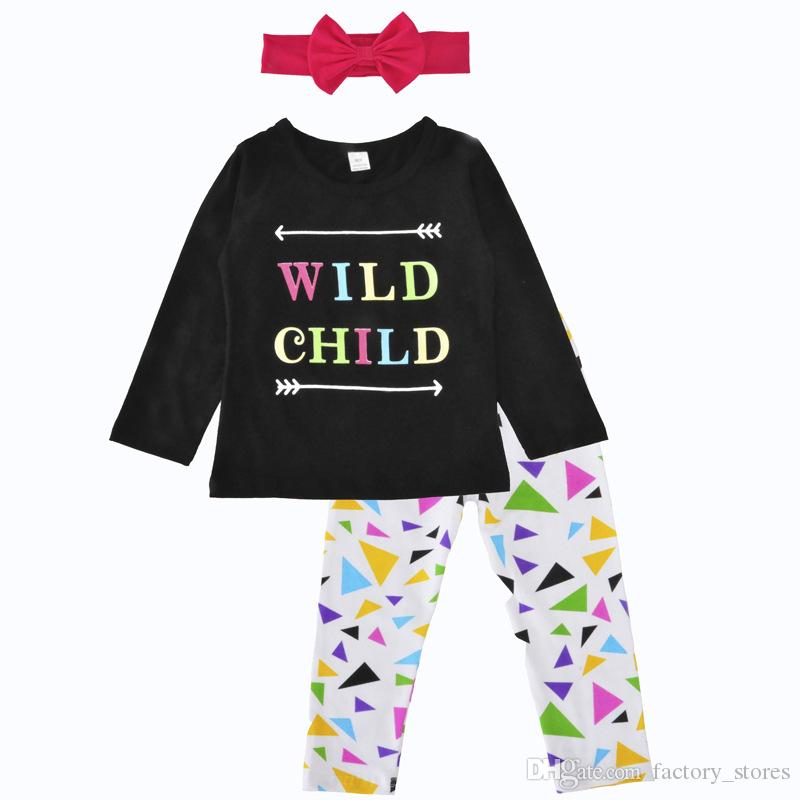 9877b8024 2019 Fashion Girls Suit Toddler Kids Outfit Pinted T Shirt+Pants+Headband  Clothing Set Short Sleeve T Shirt+ Trousers Children Outfit From  Factory_stores, ...