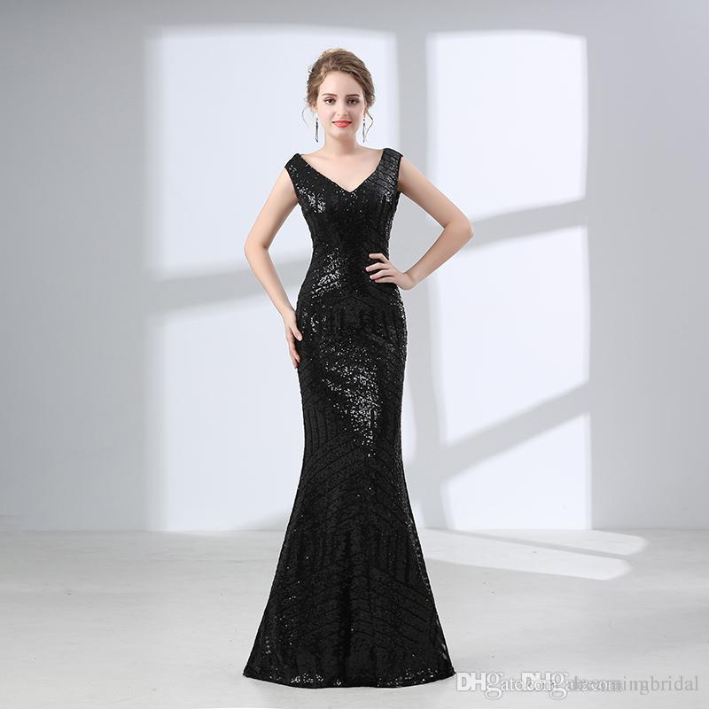 eafa11747e0d Cheap Black Mermaid Prom Dresses 2017 New Sleeveless Floor Length V Neck  Illusion Sequins Formal Long Evening Party Gown 17 6604 White Short Prom  Dresses ...