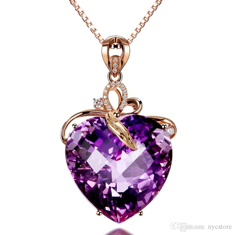 Luxury heart-shaped amethyst heart-shaped 18K rose gold color amethyst natural purple crystal stone necklace