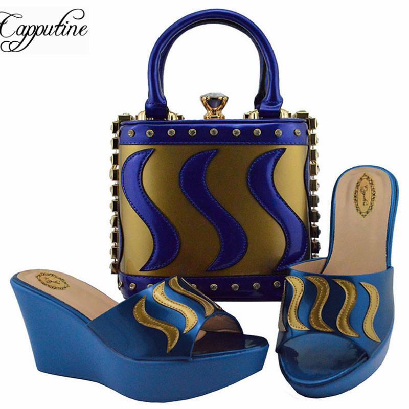 f91f0eaa4f33f6 Acheter Vente En Gros Chaussures Pu Slipper Africaines Et Sac À Assortir  Ensemble Style Nigérian Cales Talons Chaussures Et Sacs Fixés Pour La  Partie 8 ...