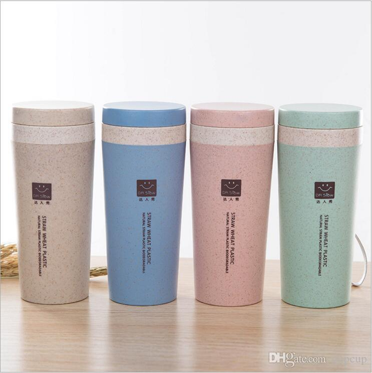 ec6920c4bc5 Wheat Straw Hand Cup Solid Color Plastic Portable Men Women Water ...