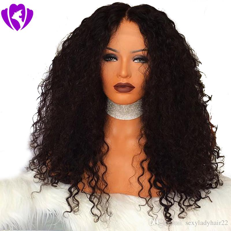 Stock high quality Natural Wigs Black Kinky Curly Long Wigs for Black Women Heat Resistant Synthetic Lace Front Wigs with Baby Hair