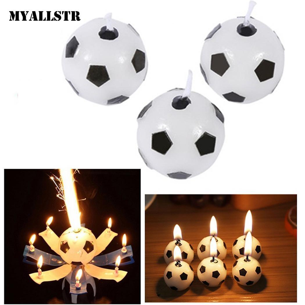 Fashion Festival Birthday Cake Decorative Cute Soccer Ball Football Candles C3020
