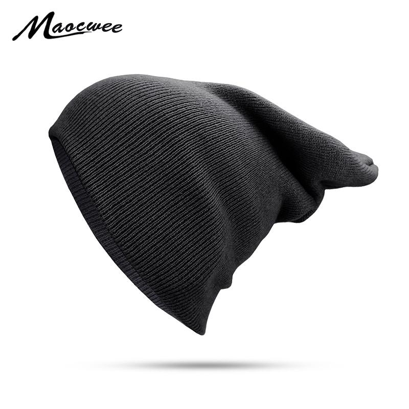 5cb1f88bd Autumn Winter Solid Black Beanie Hats Solid Ski Hat Knitted Skuilles  Beanies Women Men Lady Unisex Plain Warm Soft Bone Cap 2018