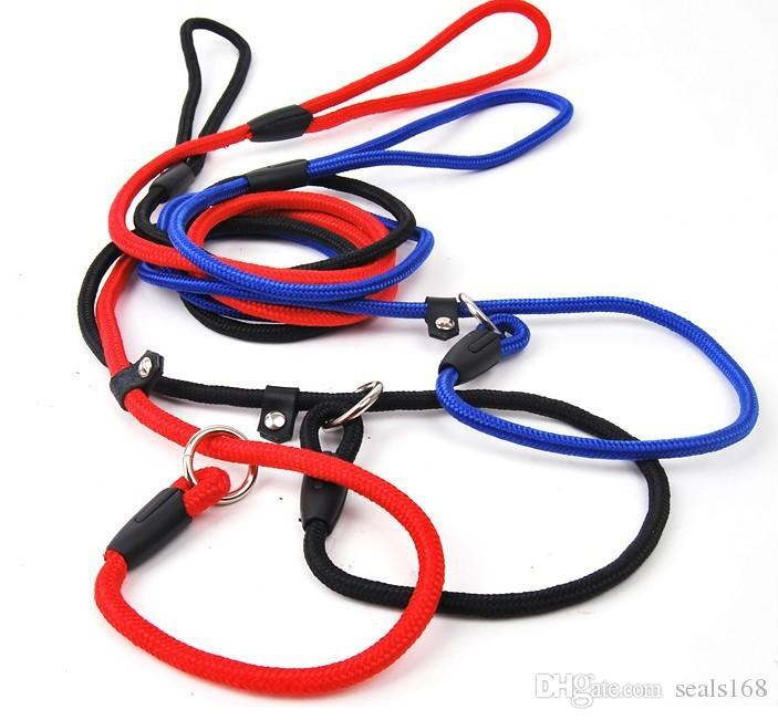 Pet Dog Nylon Corda Training Guinzaglio Slip Lead Strap Trazione regolabile Collare Pet Animali Accessori Forniture Corda 0.6 * 130 cm HH7-1173