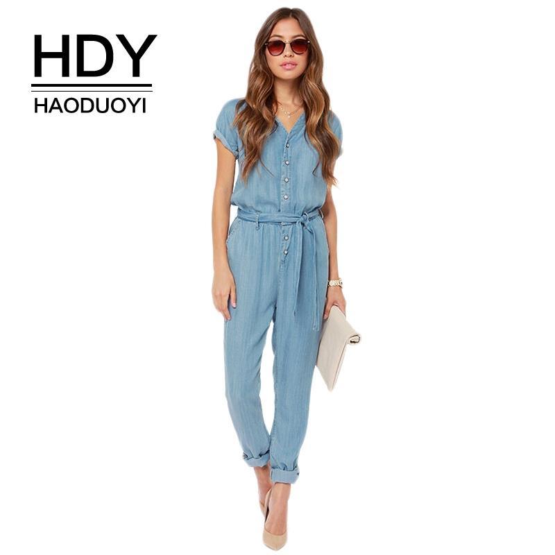 80bdc0fc93 Cheap HDY Haoduoyi Brand 2018 Women Blue V Neck Tie Waist Denim Jumpsuits  Singal Buttons Short Sleeve Female Elegant Casual Jumpsuits