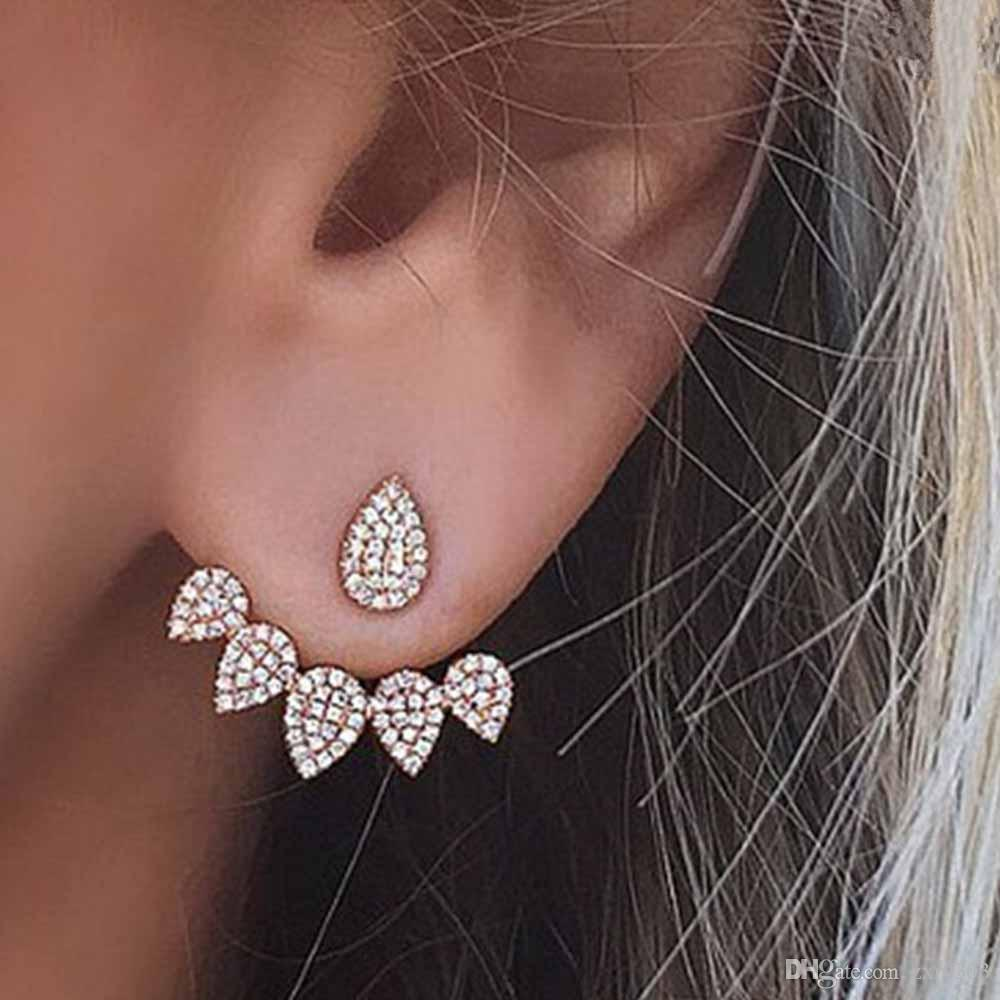 2019 2018 New Hot Drop Crystals Stud Earring For Women Gold Color Double  Sided Fashion Jewelry Earrings Women Earring From Zxr0303 d16a978233c1