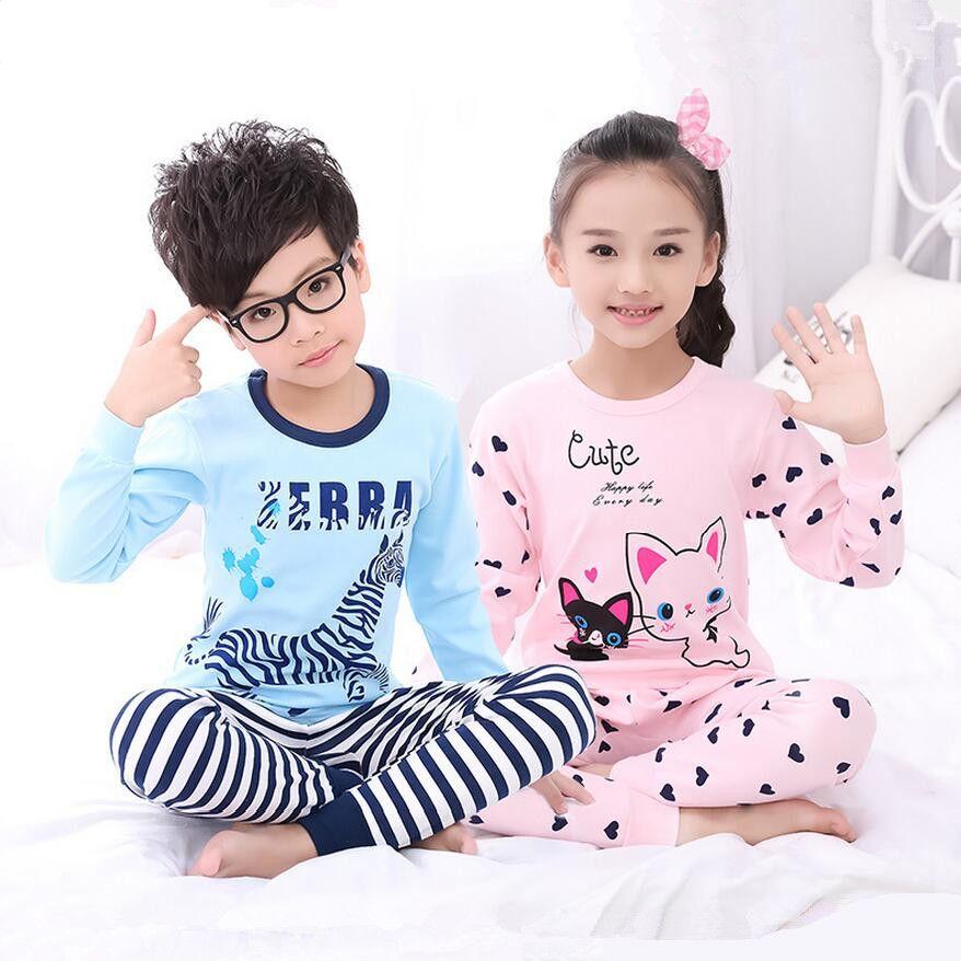 1c334bab5 Winter Long Sleeve Cotton Knit Fabric Pajamas Children Girls Pyjamas ...