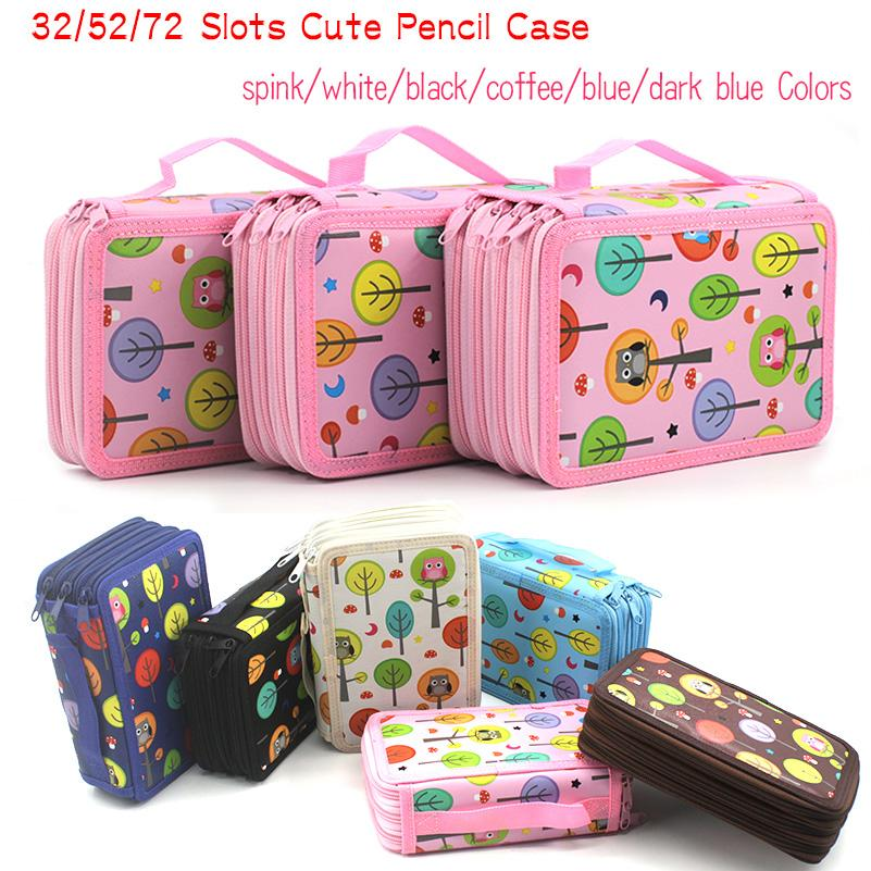 73126d69f677 Big Pencil Case Box 32/52/72 Slots Zipper Large Capacity Pen Organizer for  Watercolor Pens Markers Perfect Gift for Students