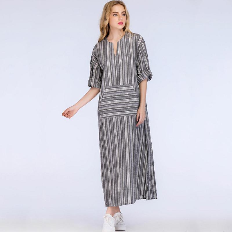 6fab51024d7 Womens Big Size Maxi Dress 5XL Large Size Kaftan Long Sleeve 2018 Summer  Striped Women Plus Size Long Cotton Linen Dress Floral Dress Online Short  And Long ...